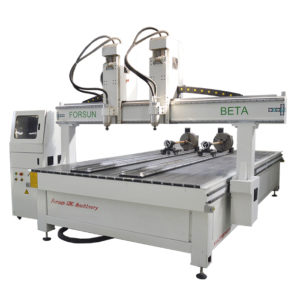 Two Spindles CNC Router Machine with Double Rotary Axis