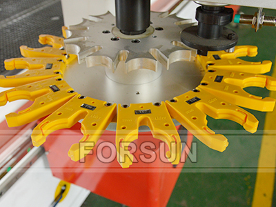 Carousel ATC of Custom Double Working Table CNC Router with Oscillating Knife + Multi-spindle