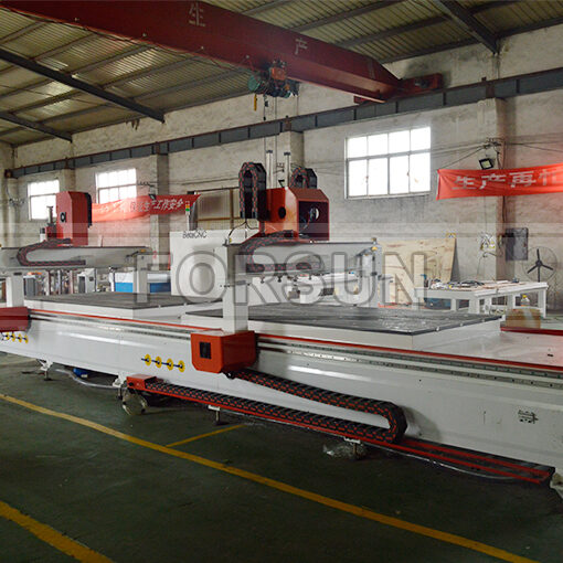 Double Working Table of CNC Router with Oscillating Knife