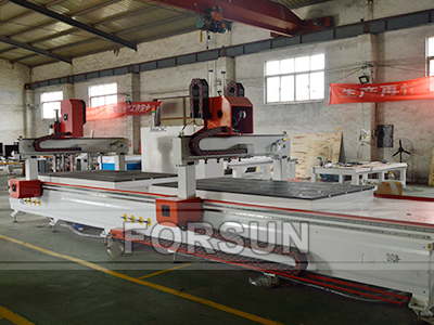Double Working Table of CNC Router machine with Oscillating Knife